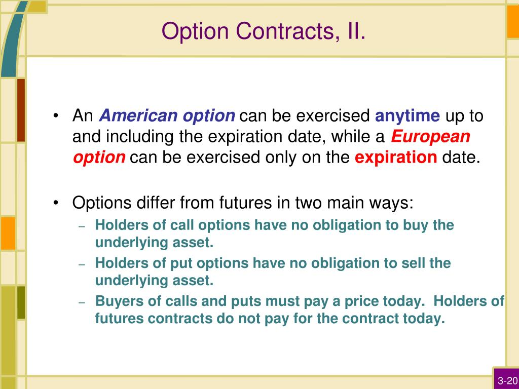 Option Contracts, II.