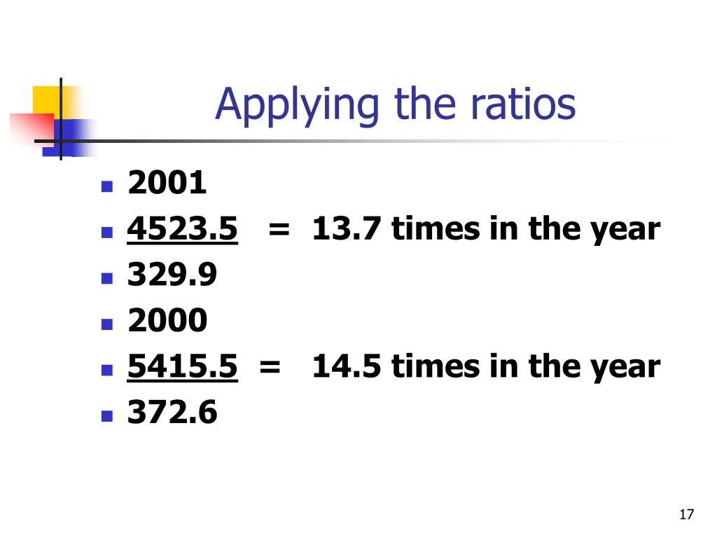 Applying the ratios