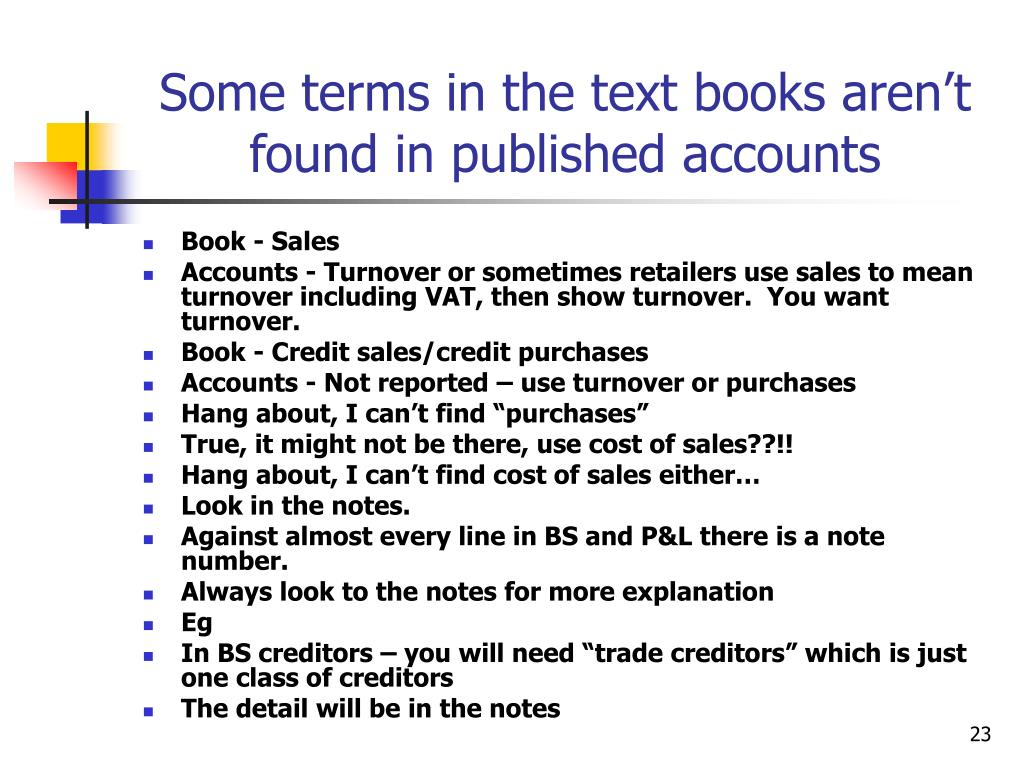 Some terms in the text books aren't found in published accounts
