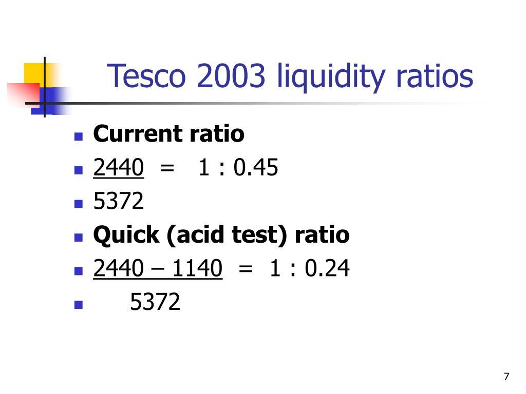 Tesco 2003 liquidity ratios