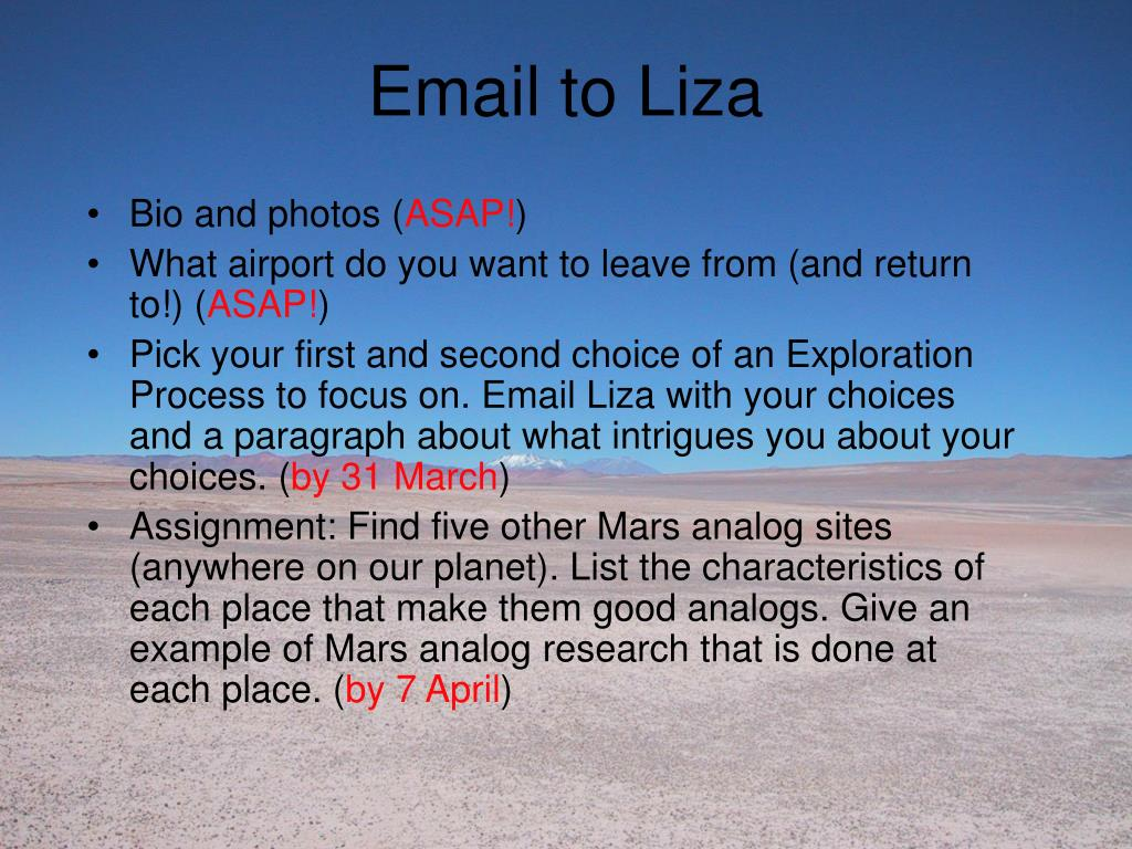 Email to Liza