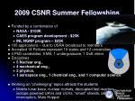 2009 csnr summer fellowships