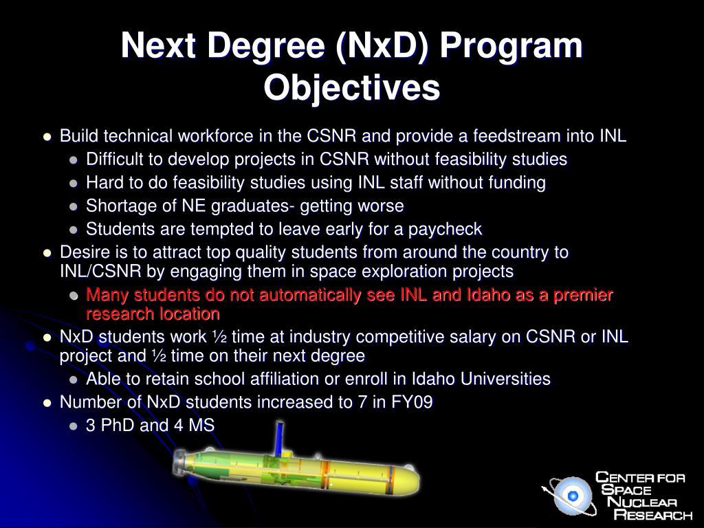 Next Degree (NxD) Program Objectives