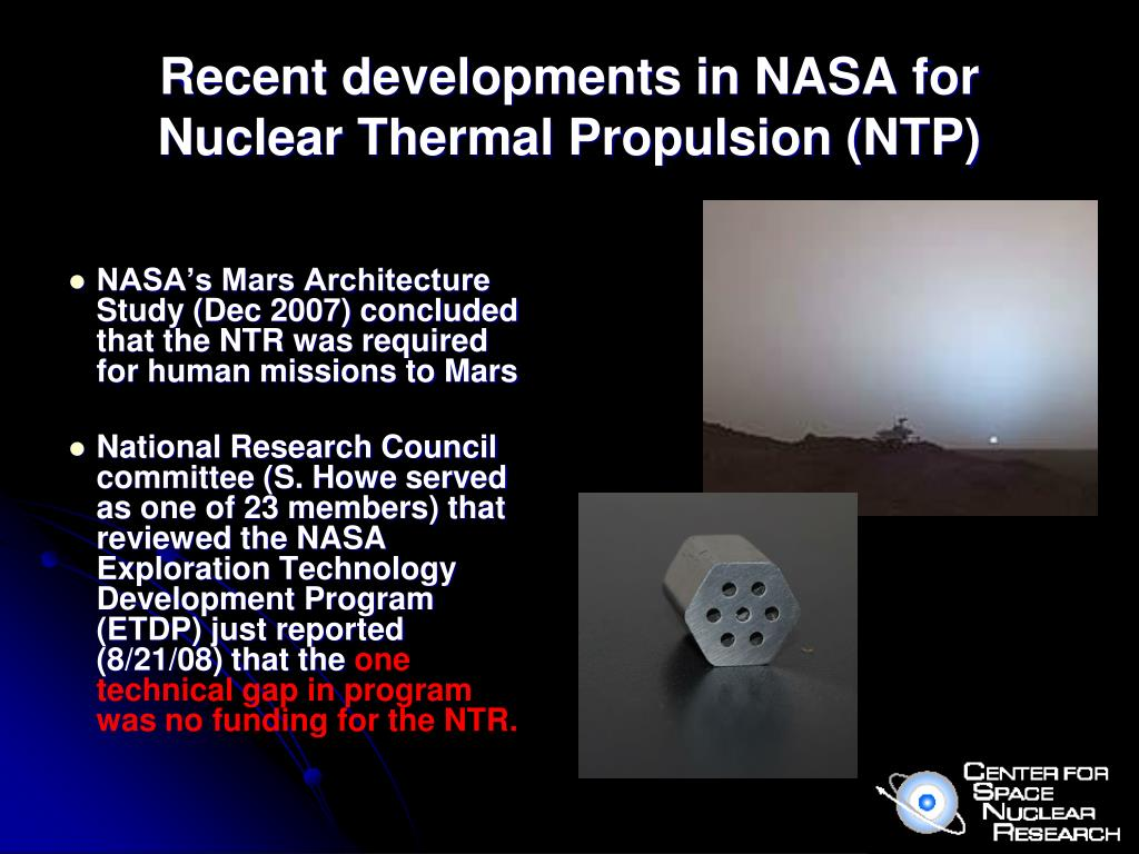 Recent developments in NASA for Nuclear Thermal Propulsion (NTP)