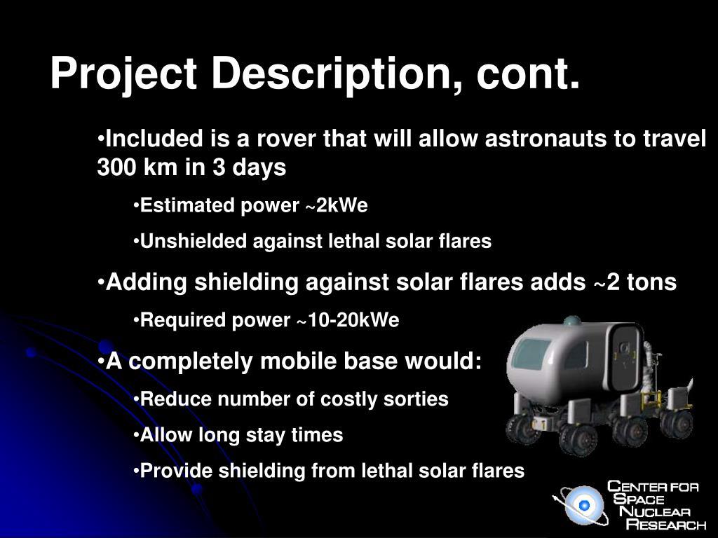 Project Description, cont.