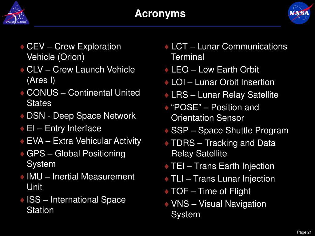 CEV – Crew Exploration Vehicle (Orion)