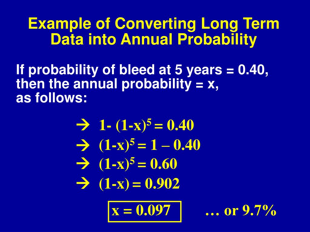 Example of Converting Long Term Data into Annual Probability