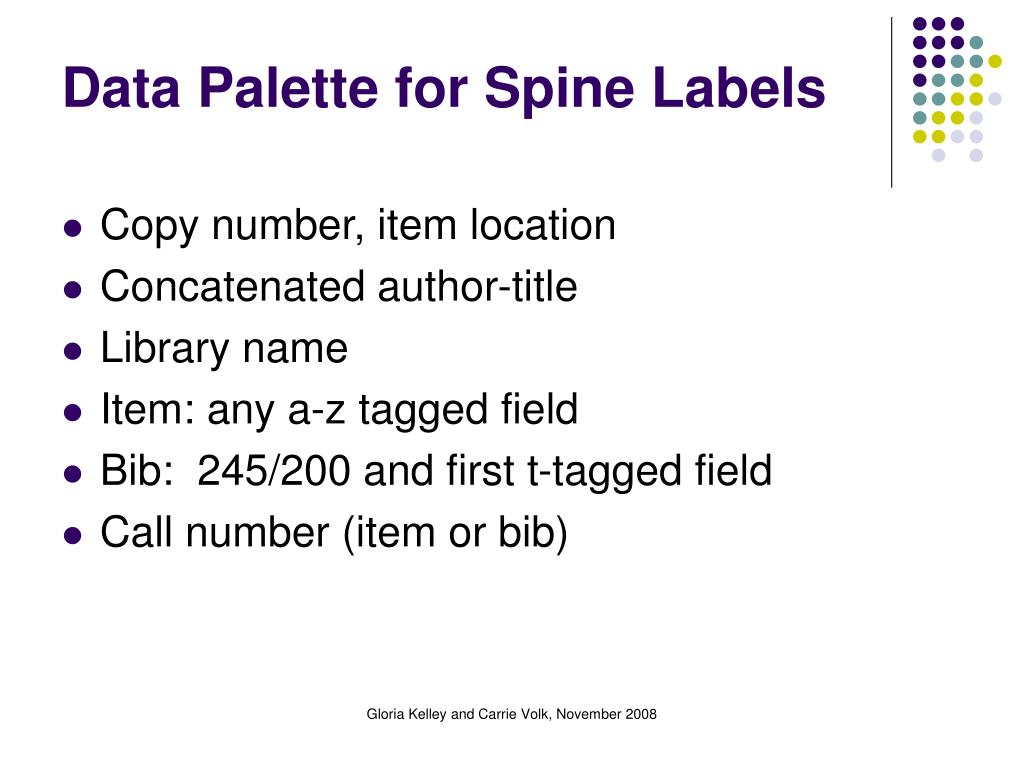 Data Palette for Spine Labels