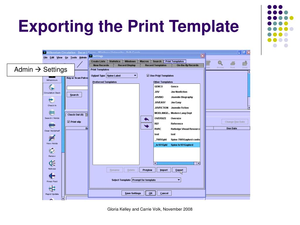 Exporting the Print Template