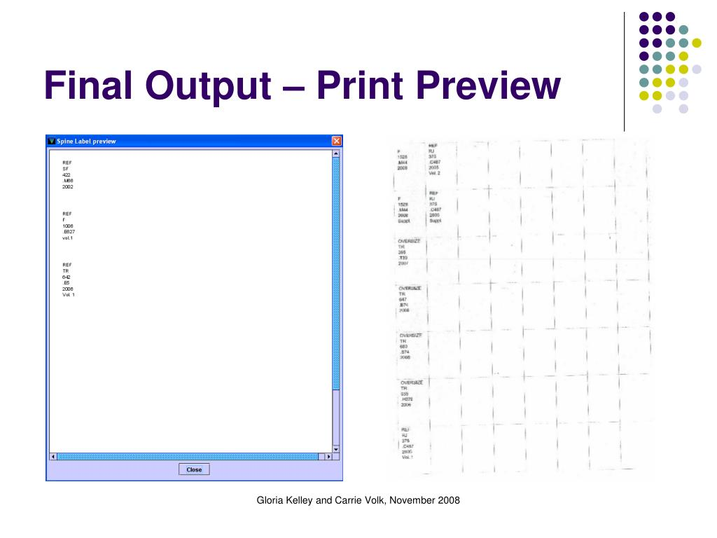 Final Output – Print Preview