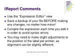 ireport comments