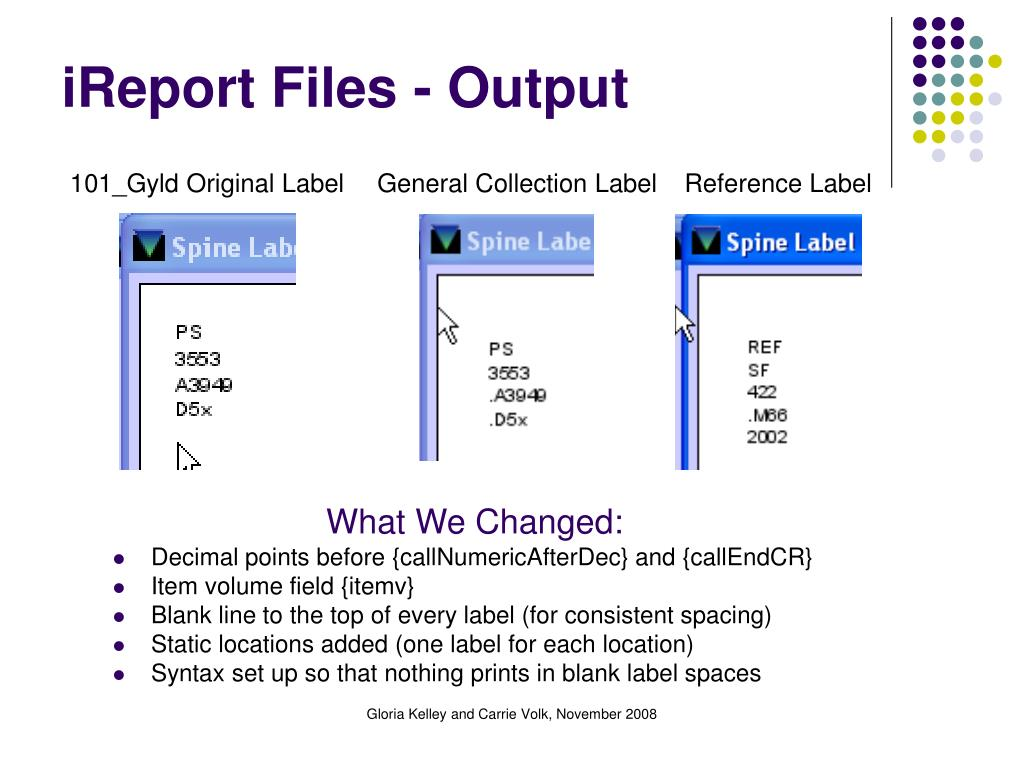 iReport Files - Output
