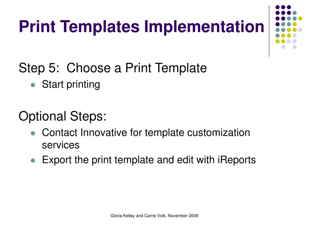 Print Templates Implementation