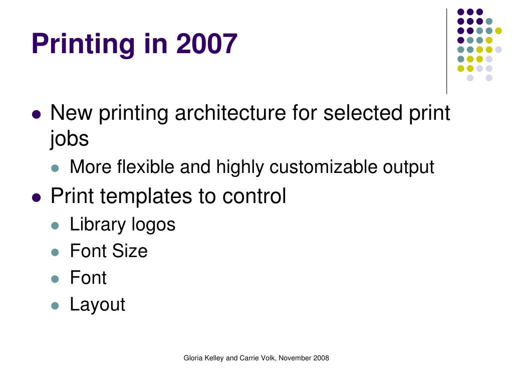 Printing in 2007