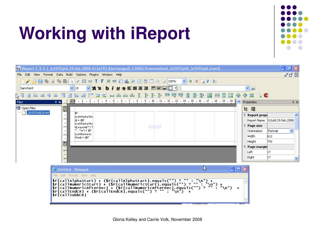 Working with iReport