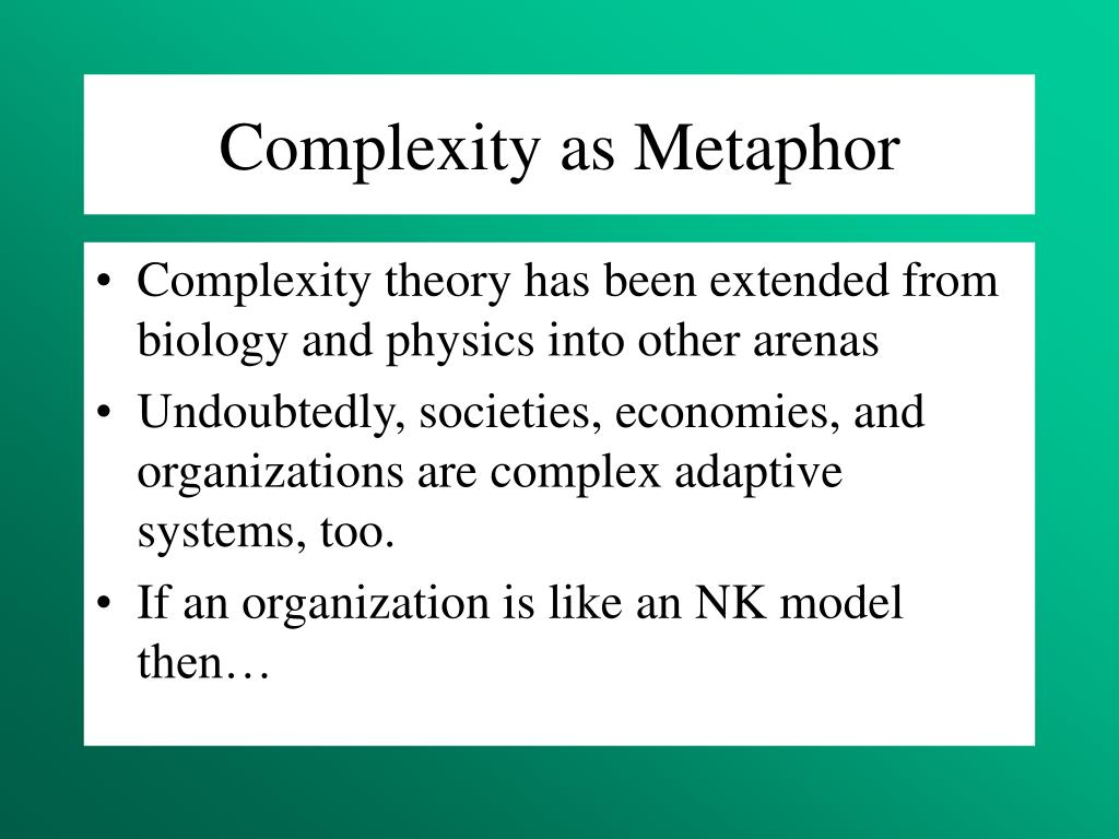 Complexity as Metaphor
