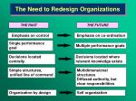 the need to redesign organizations