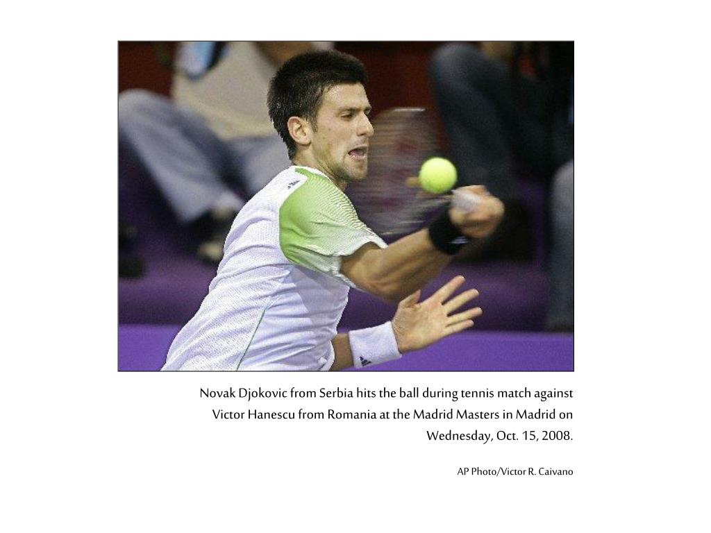 Novak Djokovic from Serbia hits the ball during tennis match against Victor Hanescu from Romania at the Madrid Masters in Madrid on Wednesday, Oct. 15, 2008.