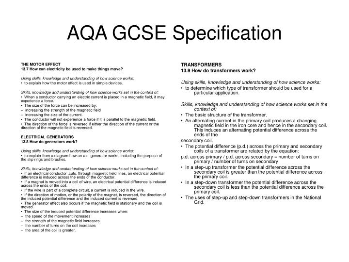 Aqa gcse specification