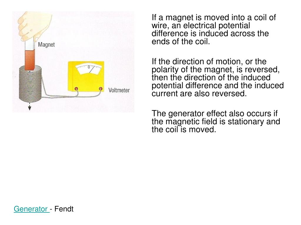 If a magnet is moved into a coil of wire, an electrical potential difference is induced across the ends of the coil.