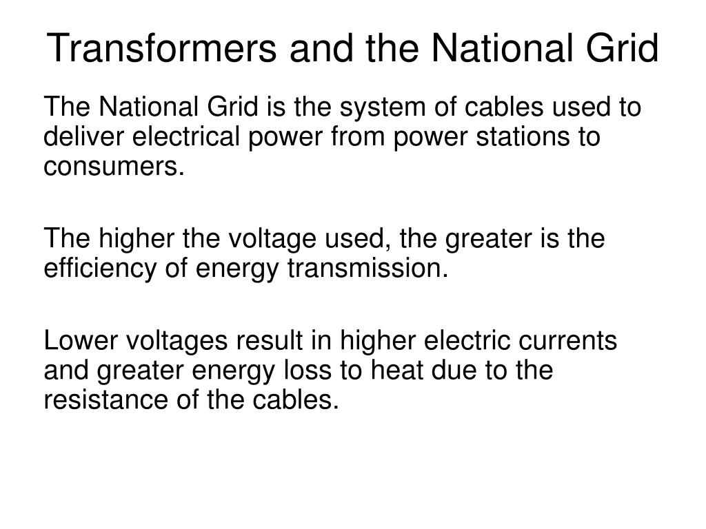 Transformers and the National Grid