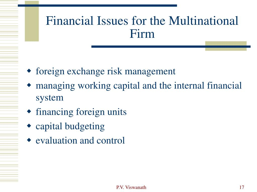 Financial Issues for the Multinational Firm