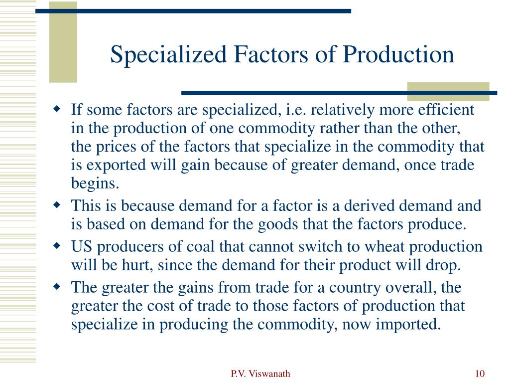 Specialized Factors of Production