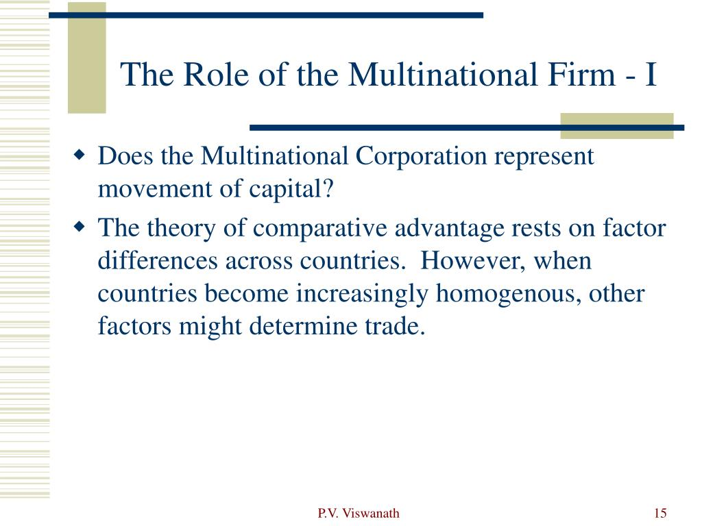 The Role of the Multinational Firm - I