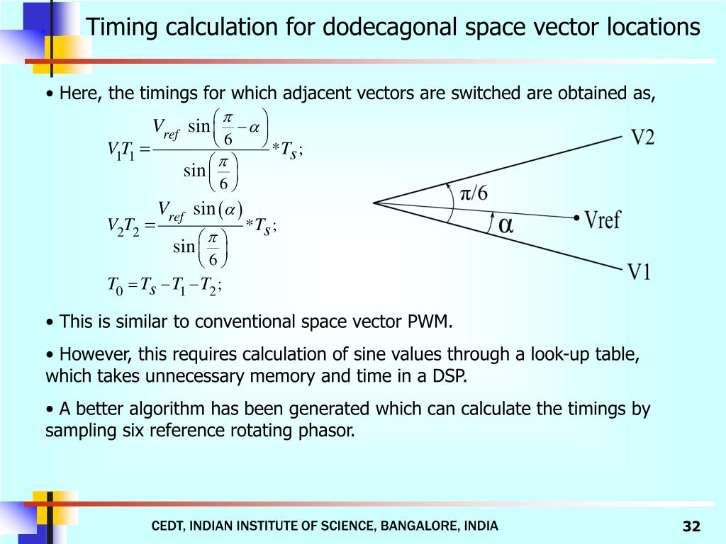 Timing calculation for dodecagonal space vector locations