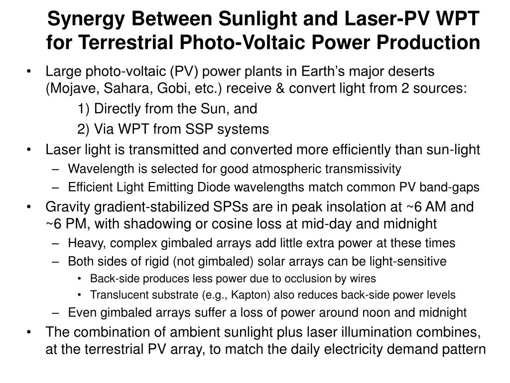 Synergy Between Sunlight and Laser-PV WPT