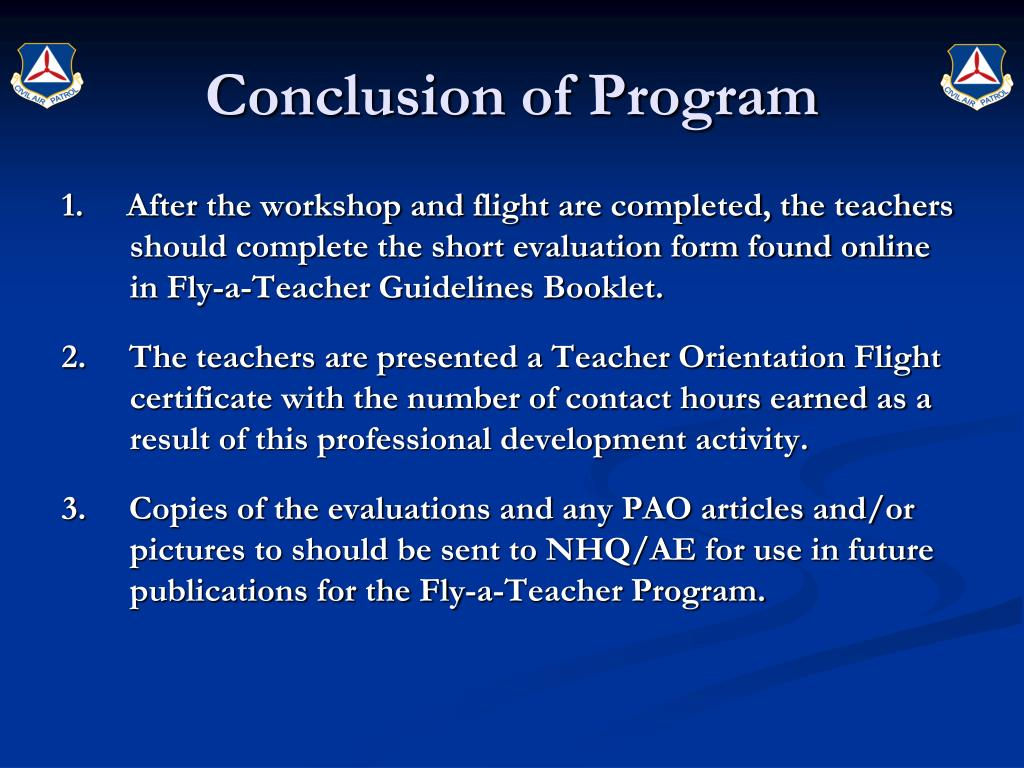 Conclusion of Program