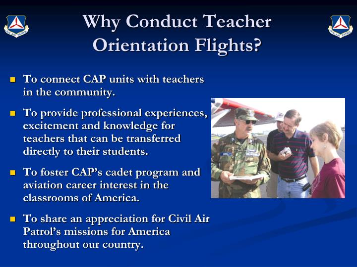Why conduct teacher orientation flights