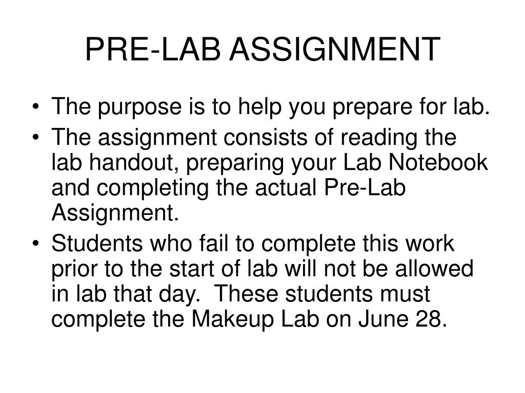 PRE-LAB ASSIGNMENT