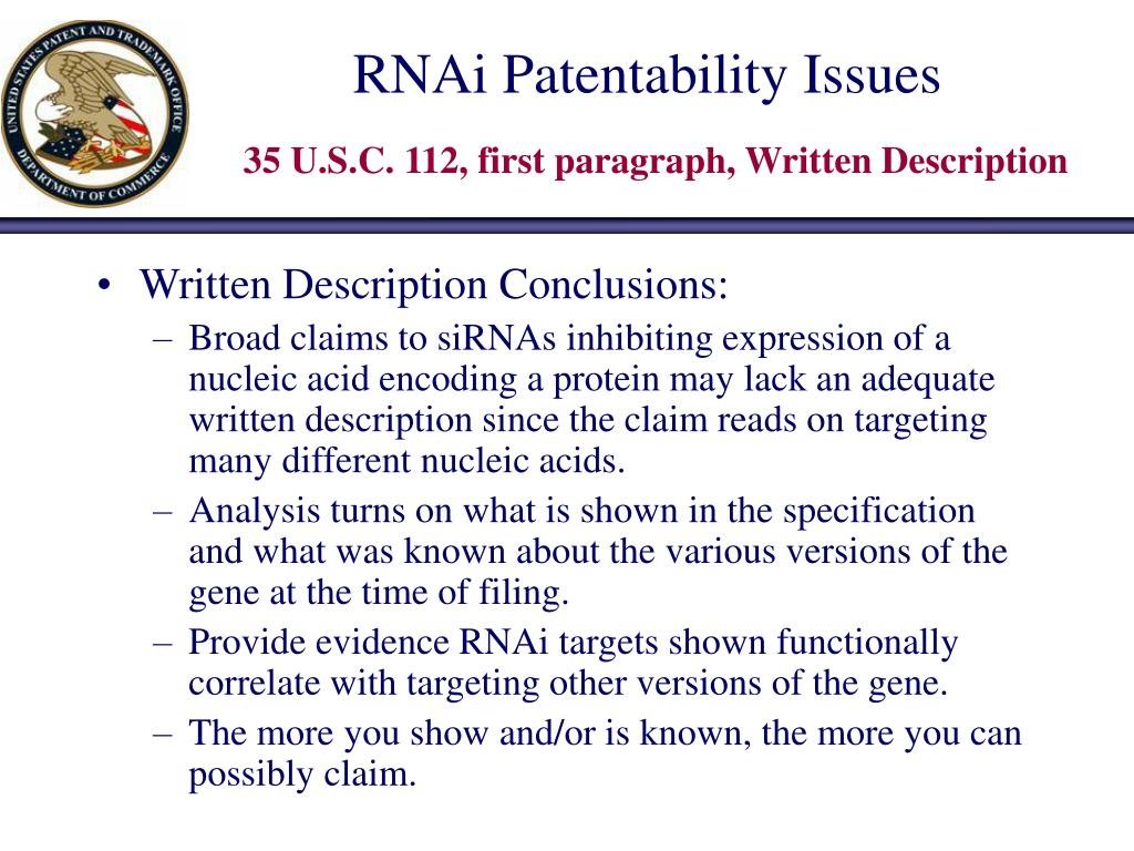 RNAi Patentability Issues
