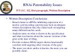 rnai patentability issues 35 u s c 112 first paragraph written description13