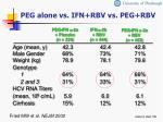 peg alone vs ifn rbv vs peg rbv