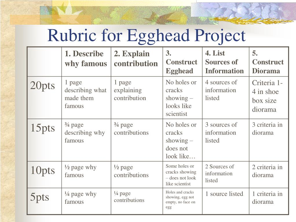 Rubric for Egghead Project