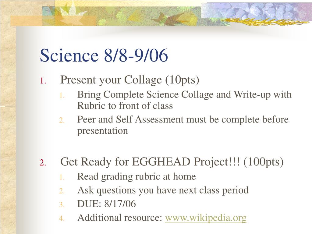 Science 8/8-9/06