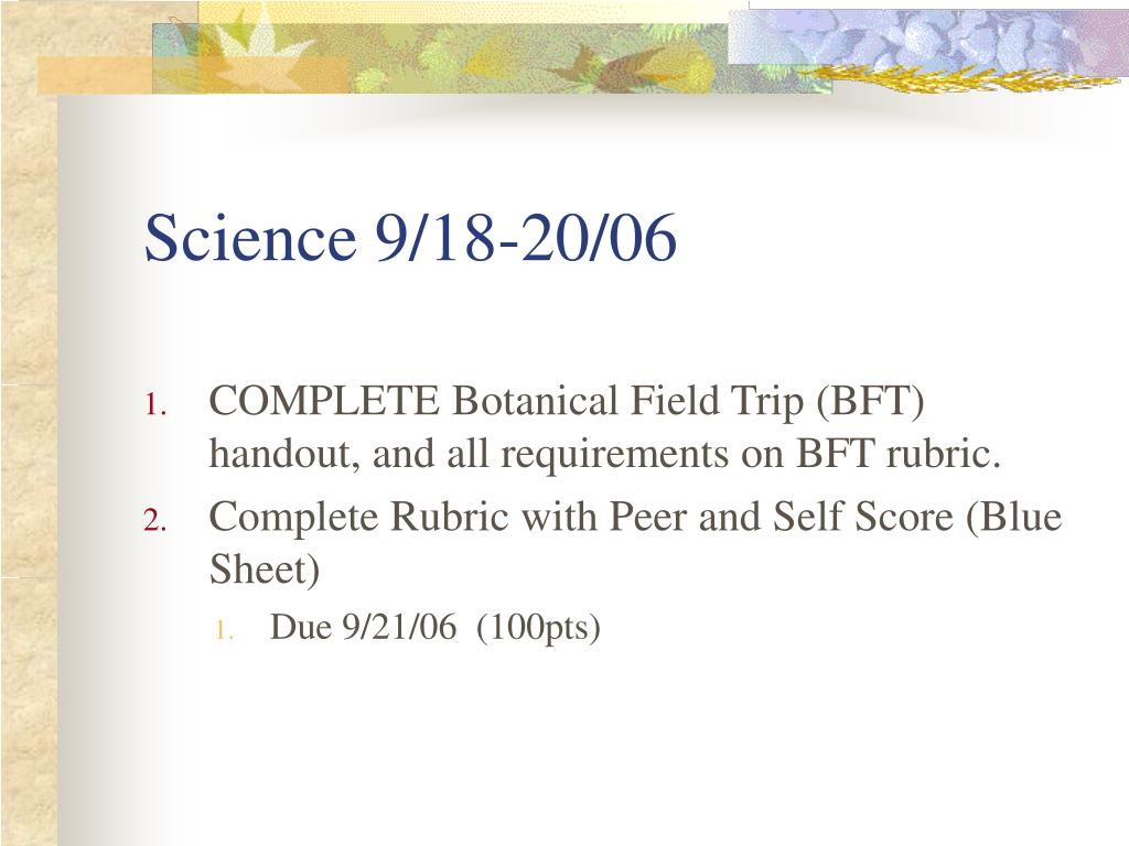 Science 9/18-20/06