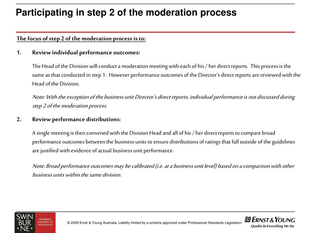 Participating in step 2 of the moderation process