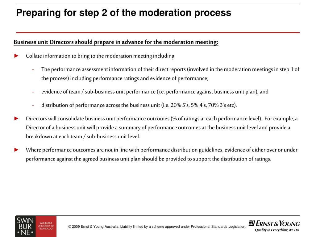 Preparing for step 2 of the moderation process
