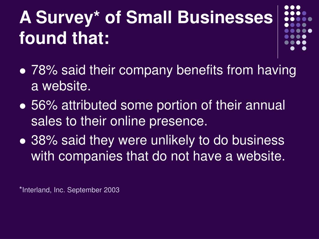 A Survey* of Small Businesses found that:
