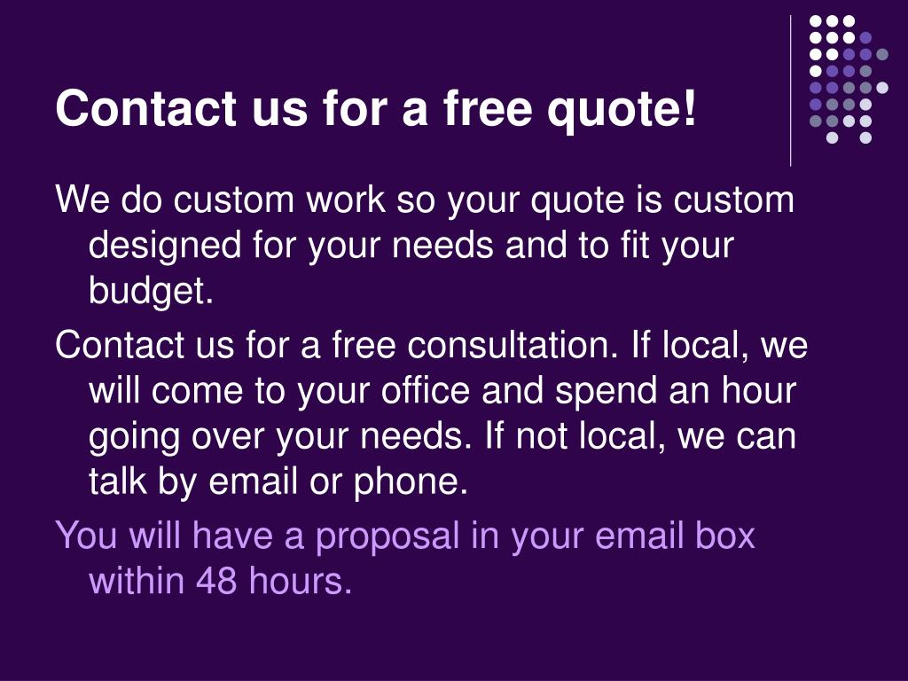 Contact us for a free quote!
