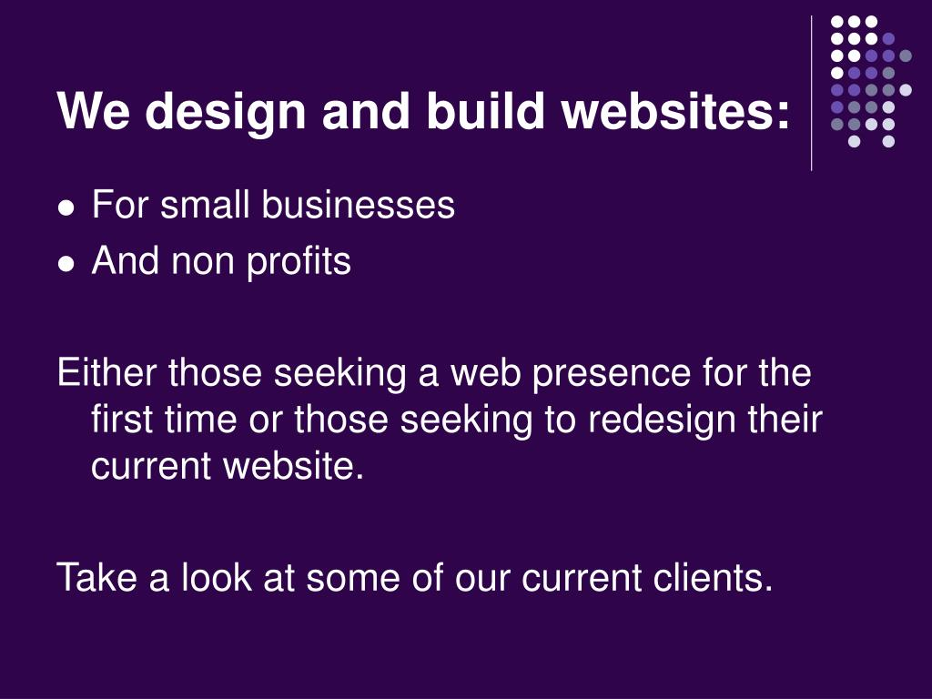 We design and build websites: