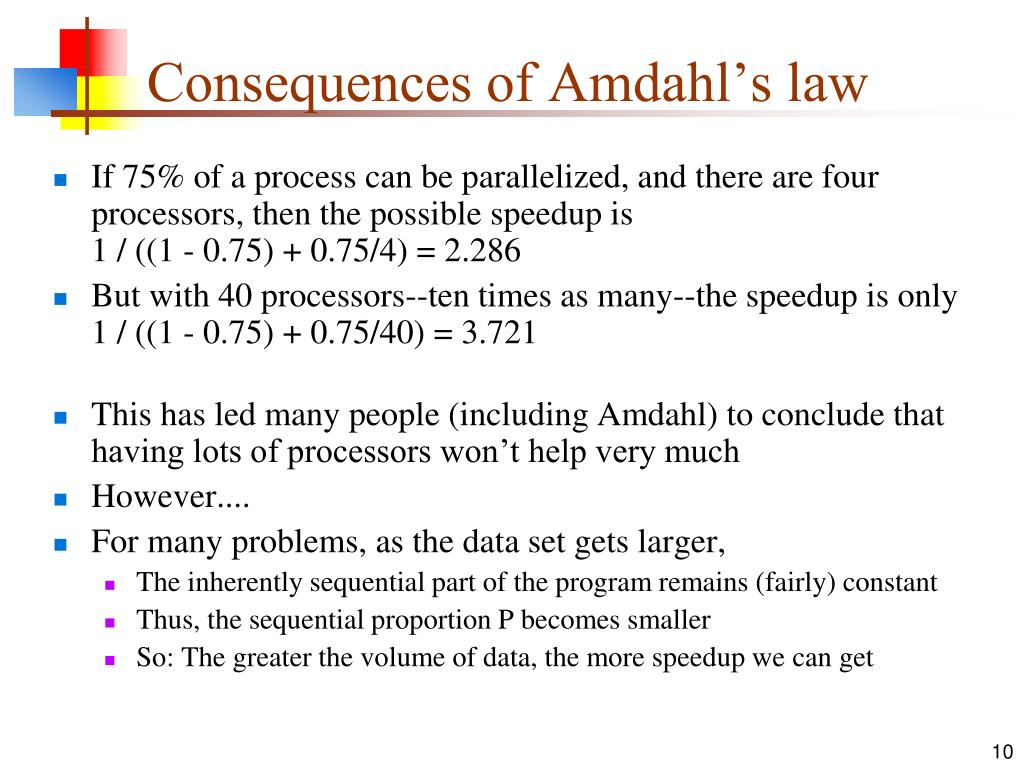 Consequences of Amdahl's law