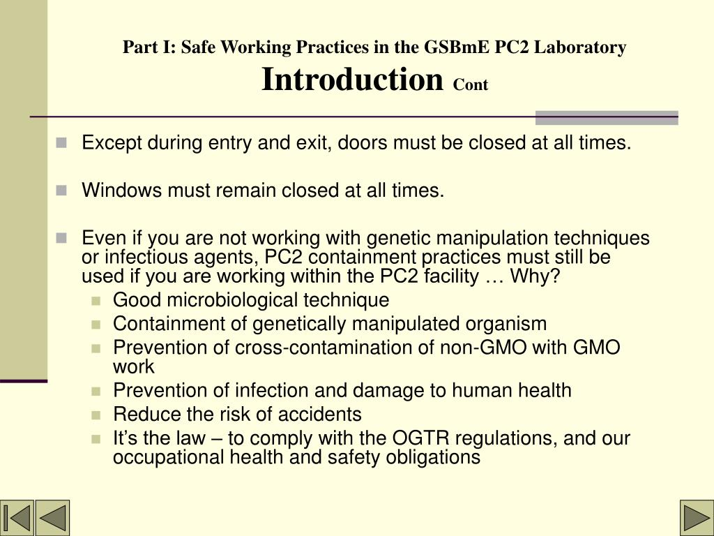 Part I: Safe Working Practices in the GSBmE PC2 Laboratory