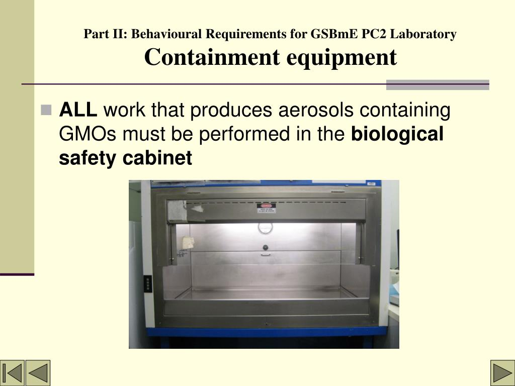 Part II: Behavioural Requirements for GSBmE PC2 Laboratory