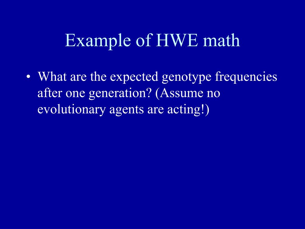 Example of HWE math