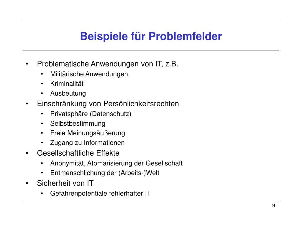 Beispiele für Problemfelder