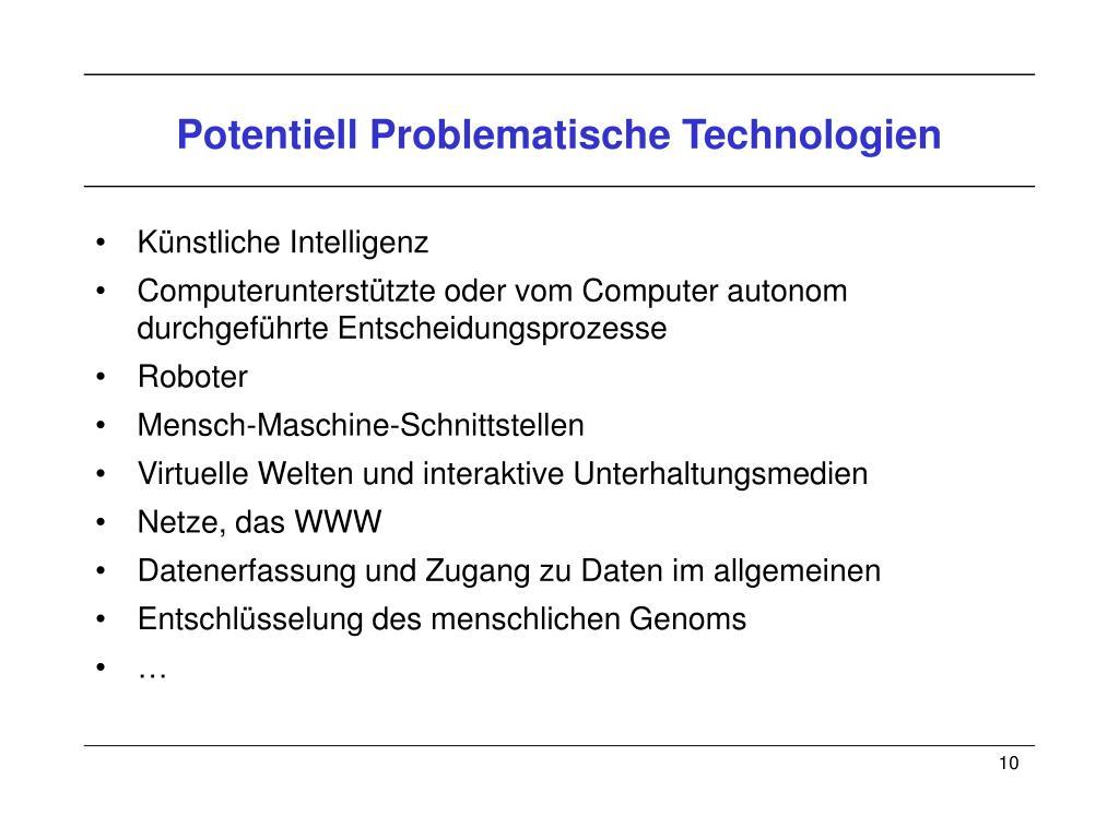 Potentiell Problematische Technologien